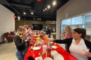 Austin team enjoying boozy ice cream from Blue Bell