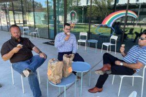 Houston team enjoying boozy Ice Cream from Fat Cat Creamery